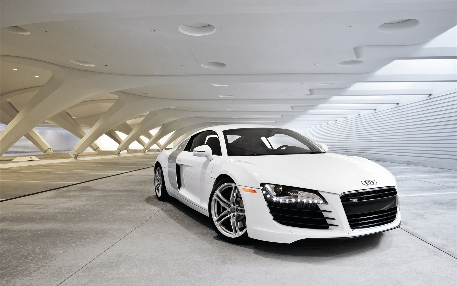 Wallpaper Of The Top Cars A White Sports Car Audi R8 Wallpaper 1920x1200
