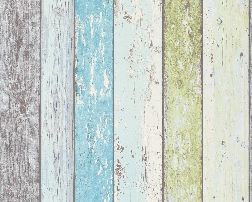 non woven wallpaper wood optics blue green wallpaper livingwalls New 1000x800
