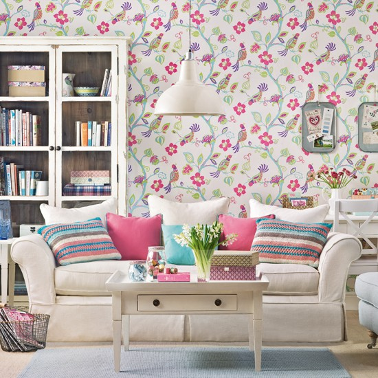 Cream living room with folk wallpaper Living room decoration Ideal 550x550