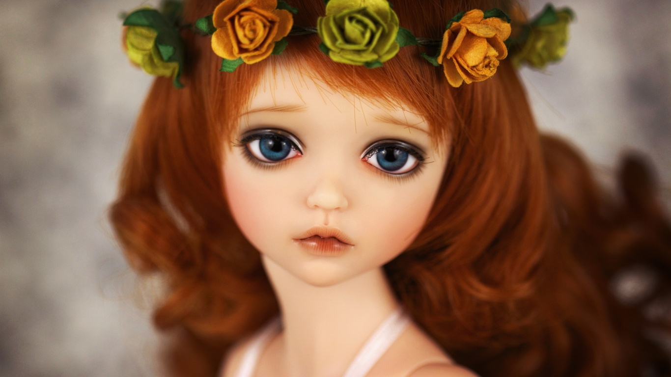 Cute Dolls Wallpapers For Facebook Doll sad eyes big eyes cute 1366x768