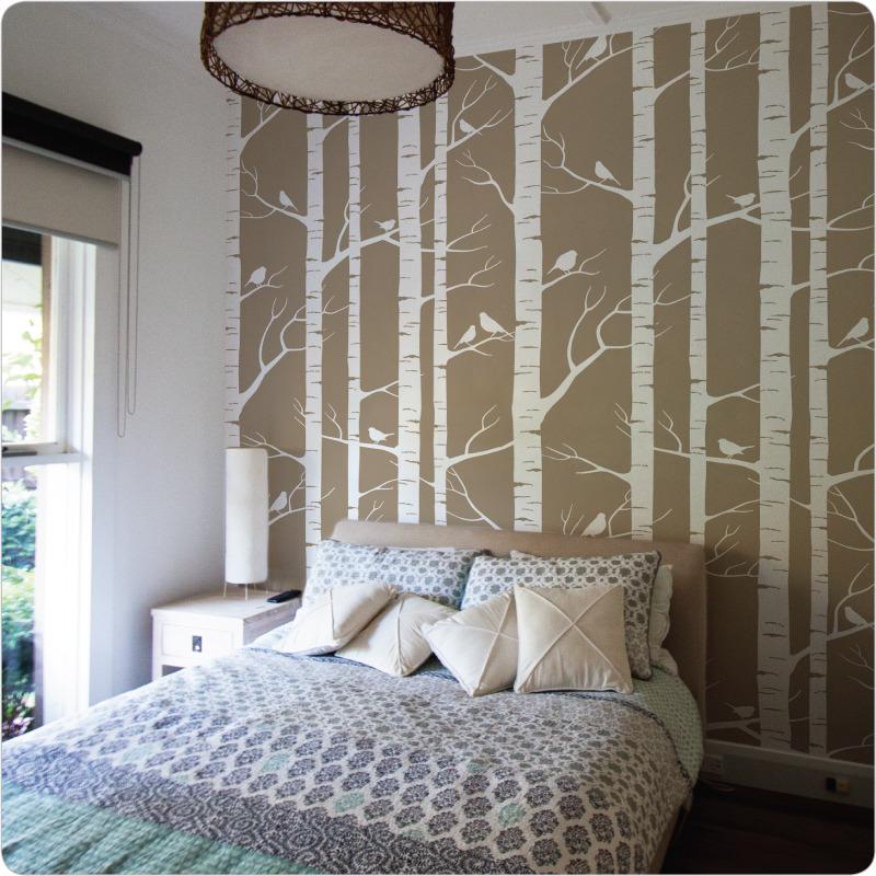 Lara Cameron Birch Wallpaper seen in white on cocoa 800x800