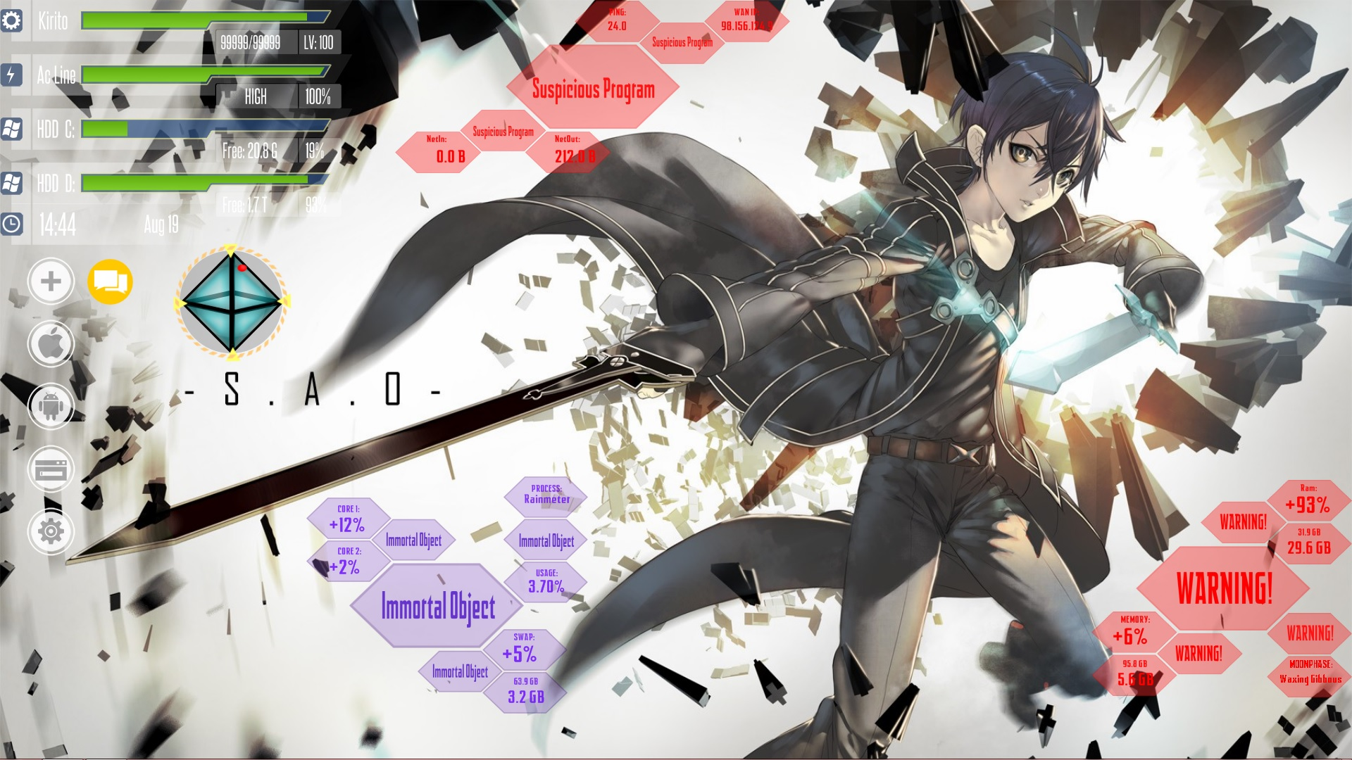 sao rainmeter custom wallpaper by sanoboss customization desktop ...