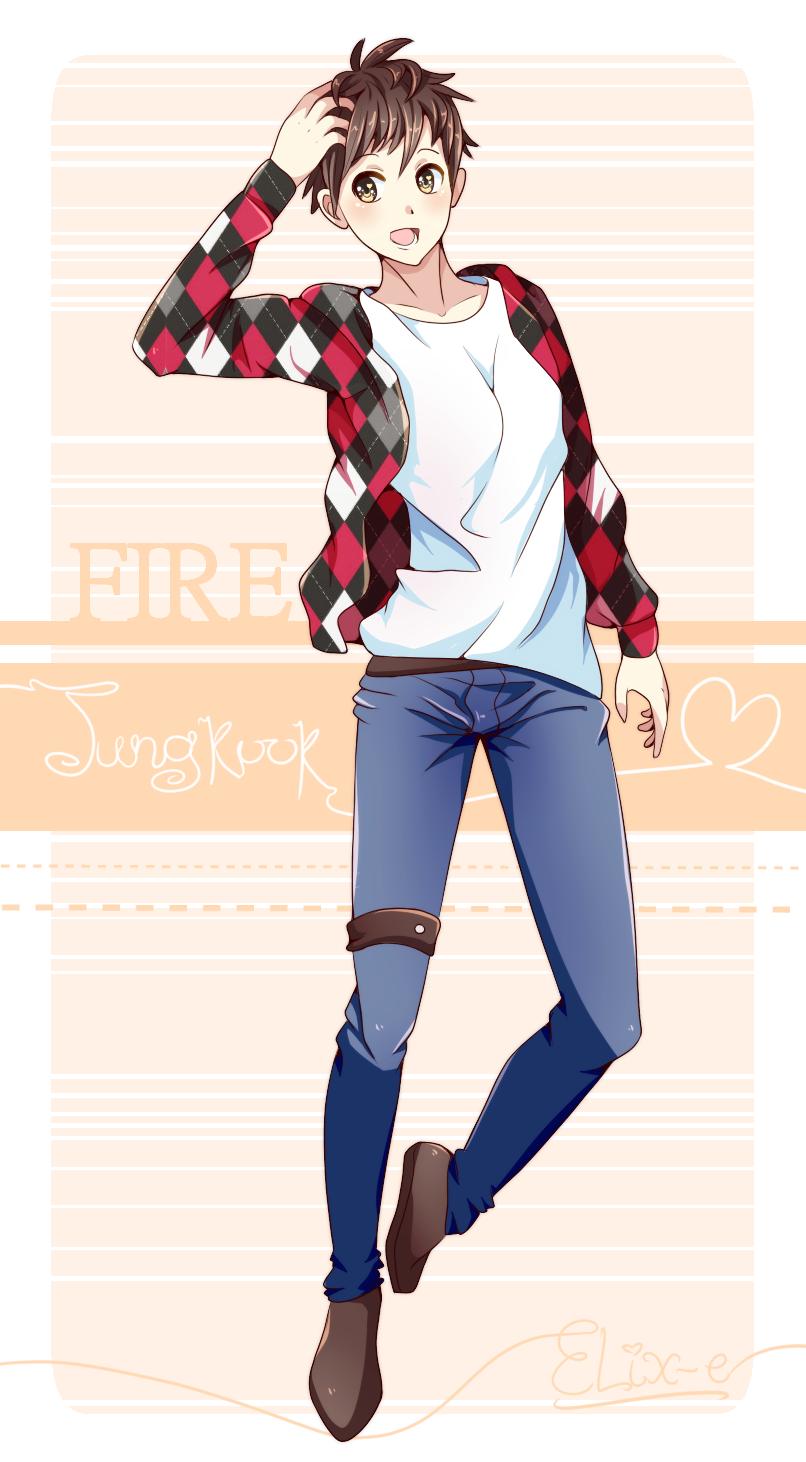 BTS Fire Fanart featuring Jungkook by Elix e 806x1462