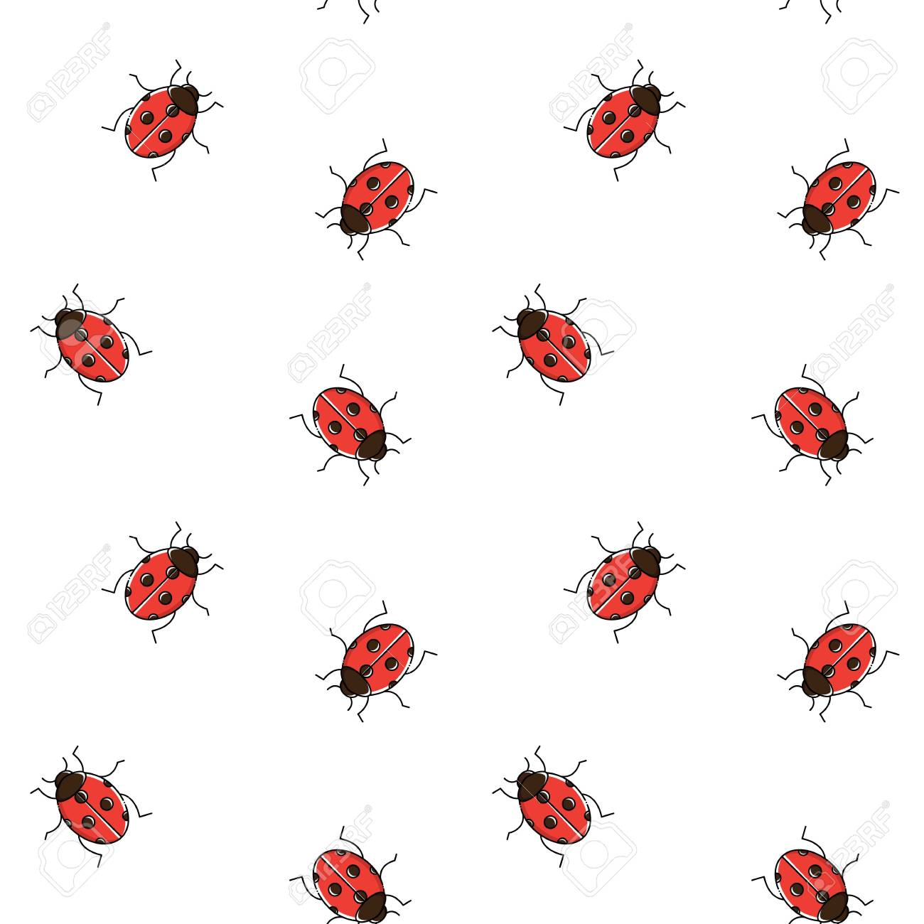 Ladybug Seamless Pattern Ladybird Repeating Background For 1300x1300