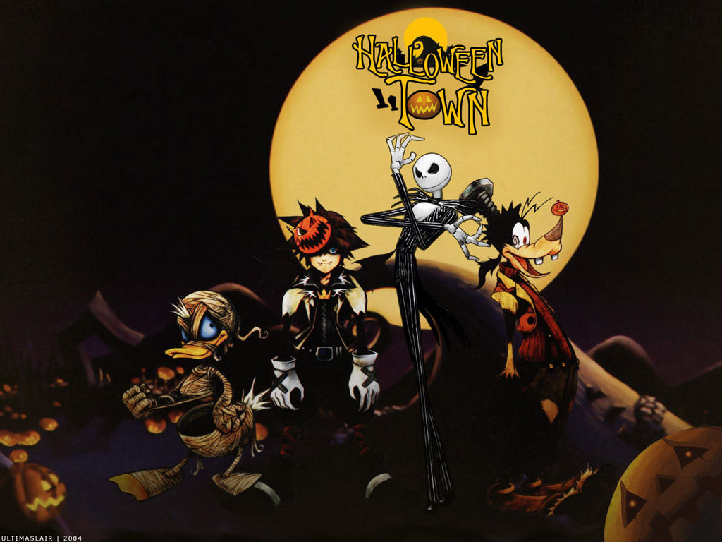 kingdom hearts halloween wallpaper background square donald goofy sora 1024x768
