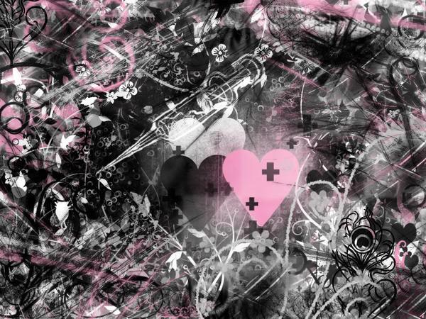 Pink And Black Hearts Wallpaper Pink And Black Hearts Desktop 600x450