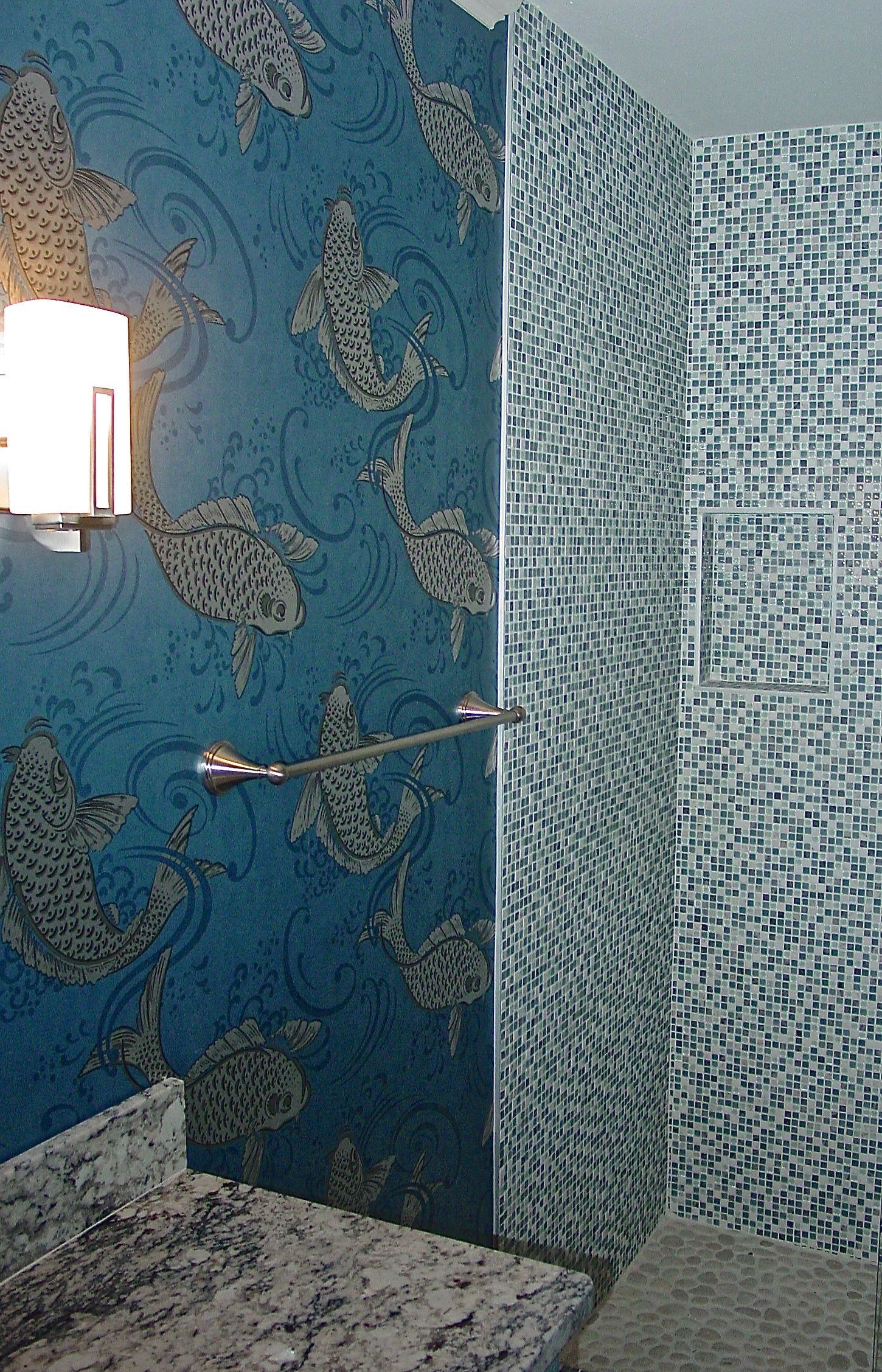 Koi jump and leap on a beautiful glimmering wallpaper from Osborne 1450x2255