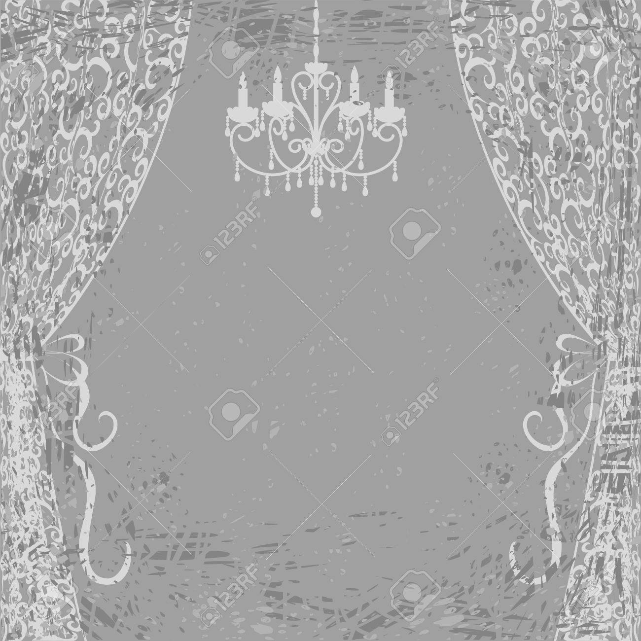 Vintage Card With Chandelier And Curtains On Gray Grunge 1300x1300