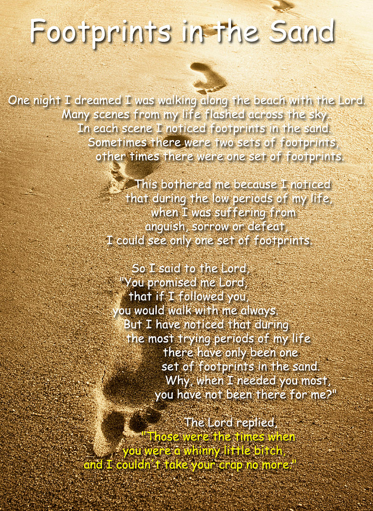 Footprints In The Sand Poem Background A new version of foot prints in 749x1024