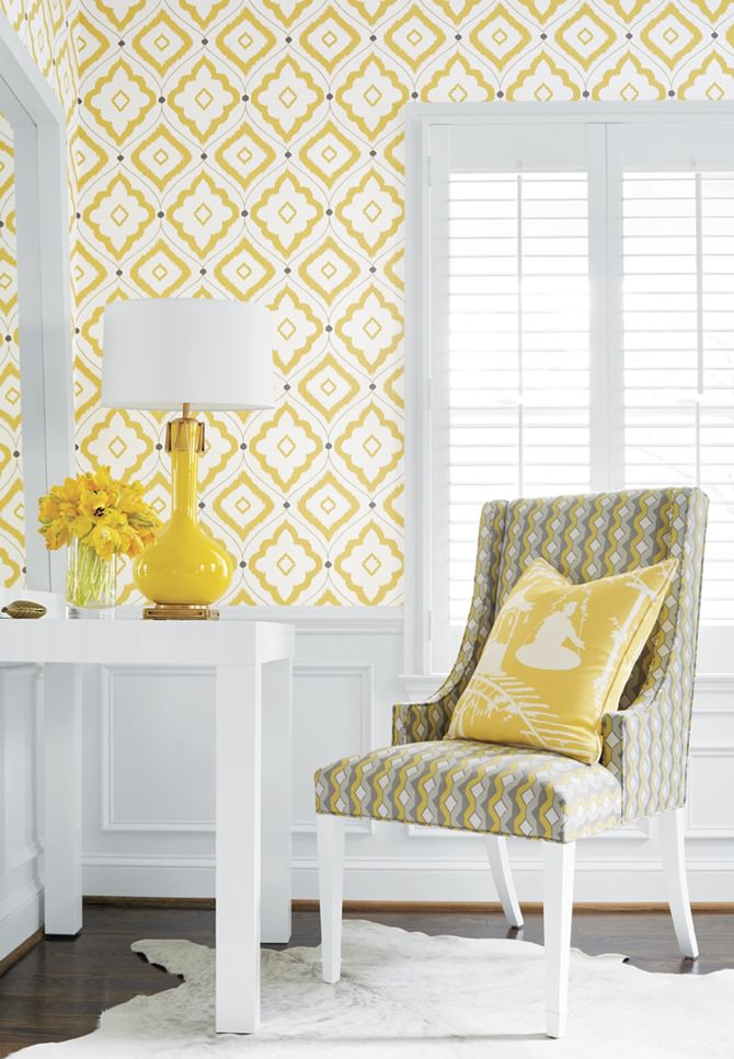 sunshine yellow graphic print Thibaut Bungalow wallpaper with Thibaut 670x967