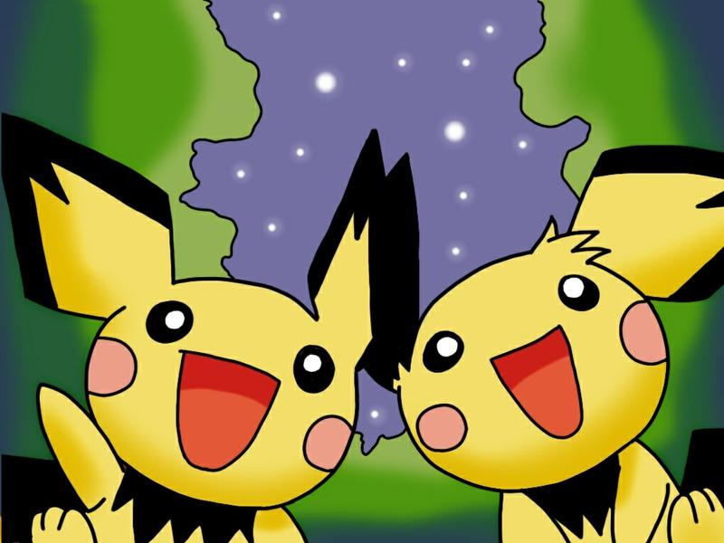 cute Pichu Under The Stars Anime Pokemon HD Desktop Wallpaper 800x600
