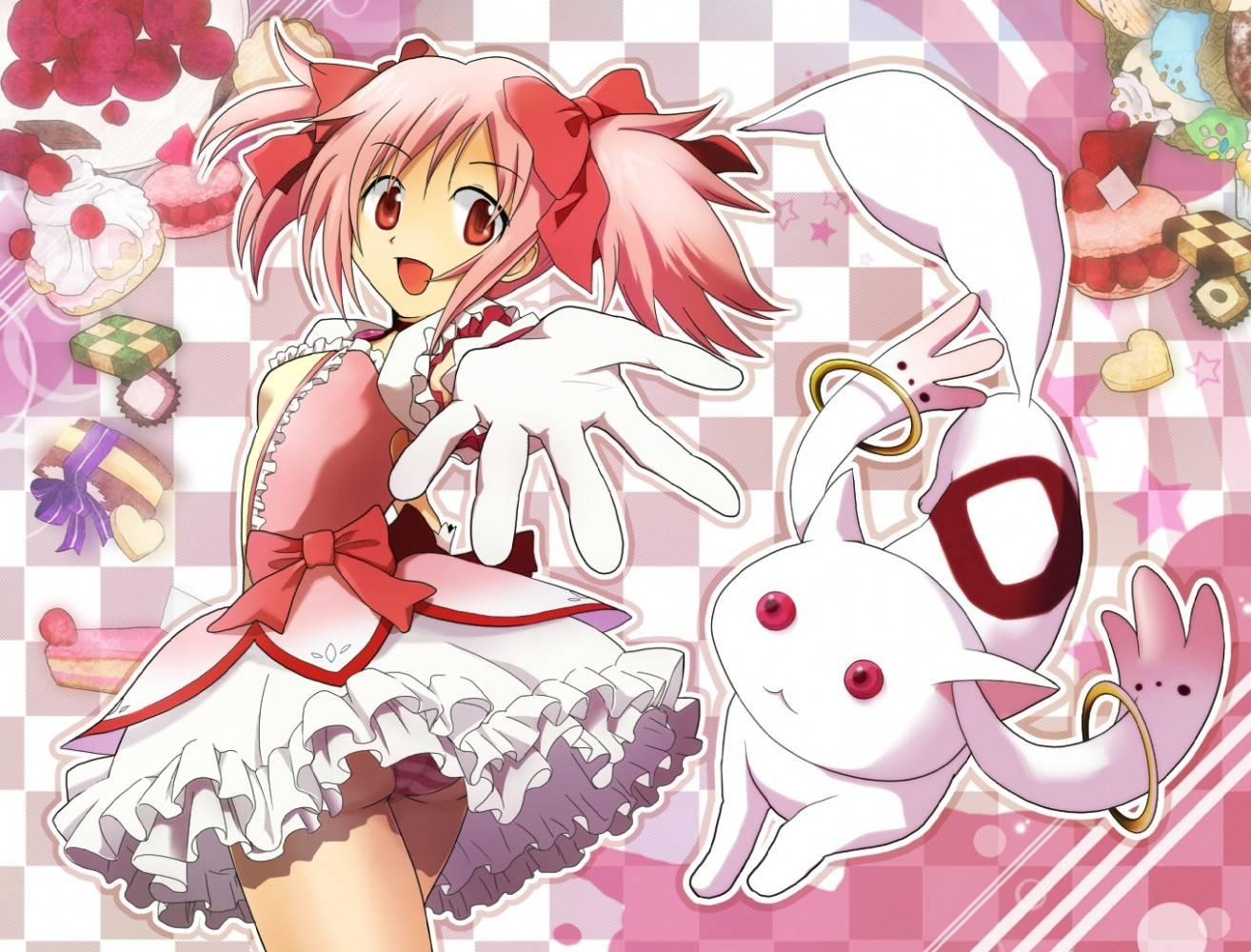 Free Download Madoka Kaname And Kyubey Mahou Shoujo Madoka Magica