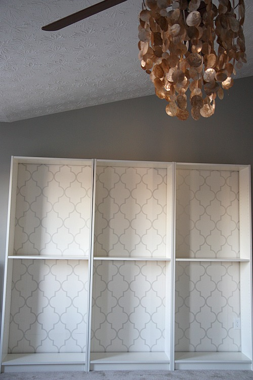 wallpapered bookcases 500x750