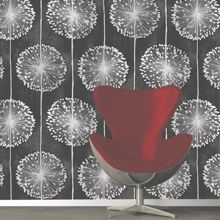 Dandelion Floral Designer Feature Wallpaper Black Grey Flower eBay 700x700