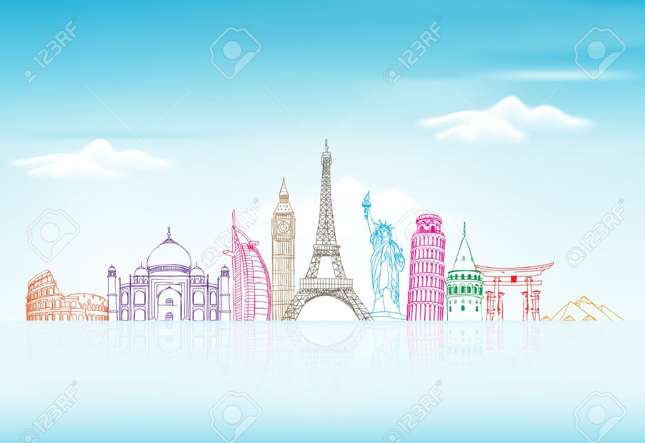 Travel And Tourism Background With Famous World Landmarks In 1300x892