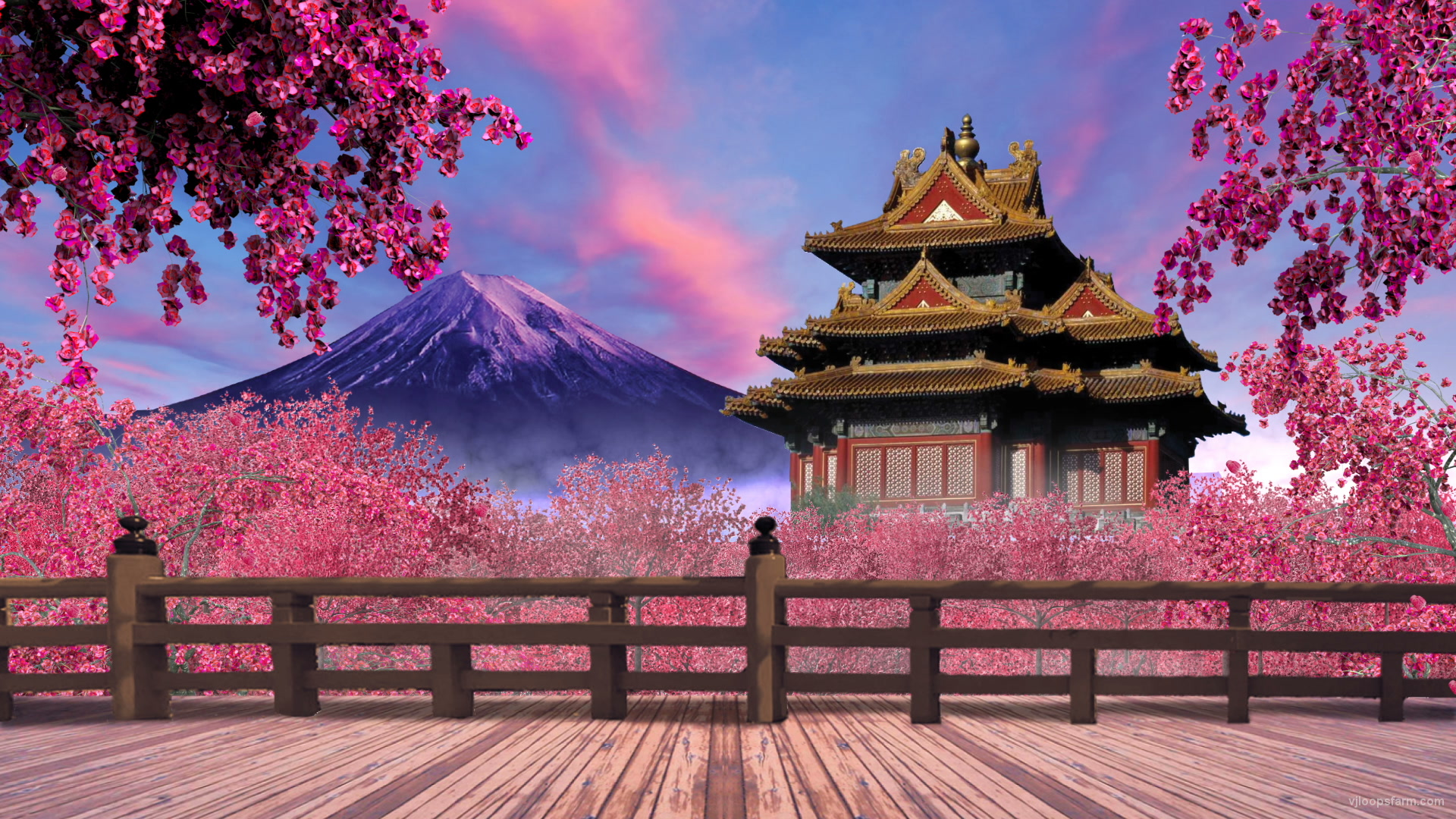 Vj Video Background Japan Pink Garden 29fps Vj Loop   The Palace 1920x1080