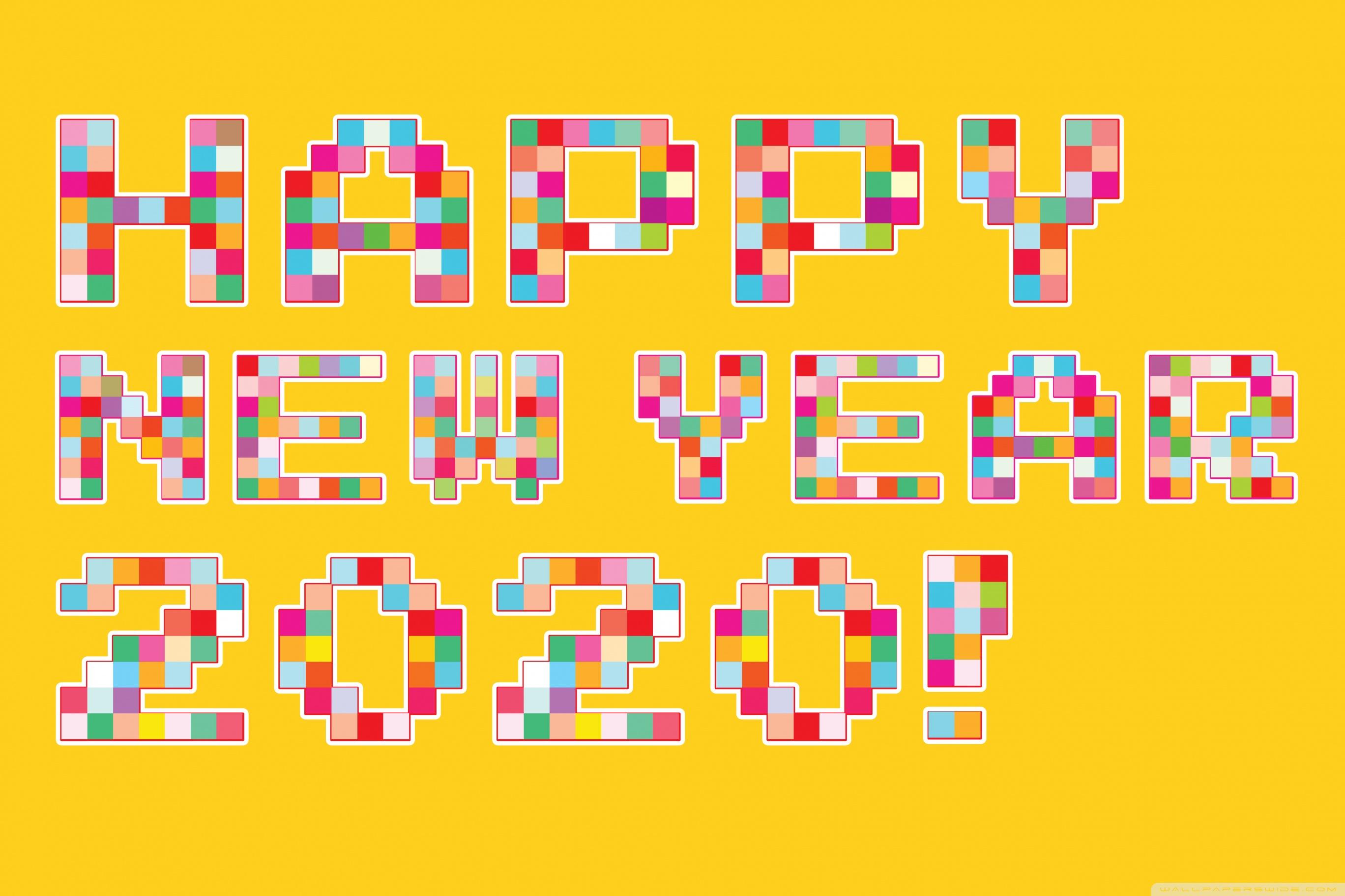 Happy New Year 2020 Pixel Art 4K HD Desktop Wallpaper for 4K 2736x1824