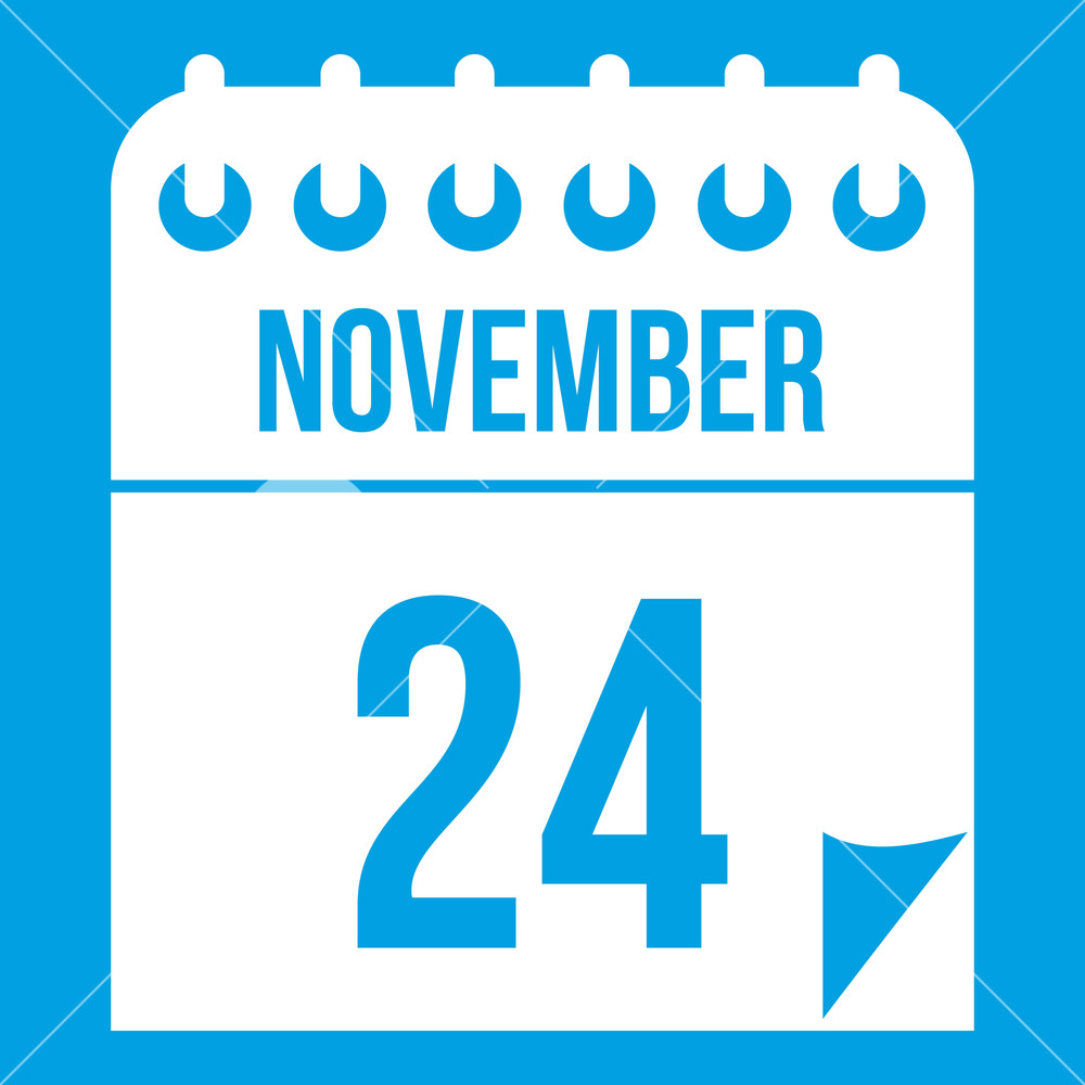 24 november calendar icon white isolated on blue background vector 1000x1000
