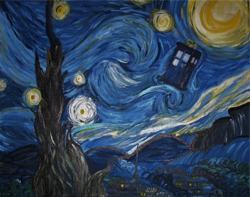 Van Gogh Tardis Wallpaper A starry night in the tardis 1006x793