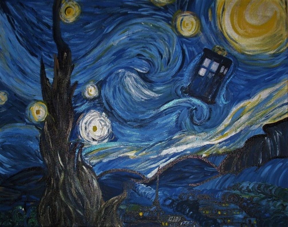 Van Gogh Tardis Wallpaper A starry night in the tardis