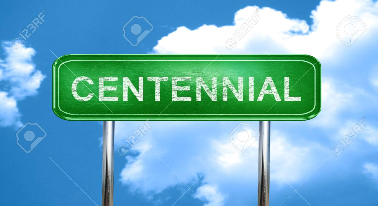 Centennial City Green Road Sign On A Blue Background Stock Photo 1300x709