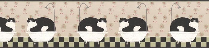 Details about Warren Kimble BATHROOM FAT CAT Wallpaper Border AP75656 700x161