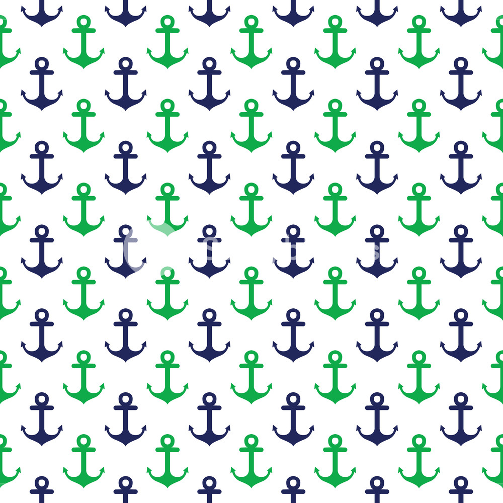 Nautical Pattern Of Blue And Green Anchors On A White Background 1000x1000