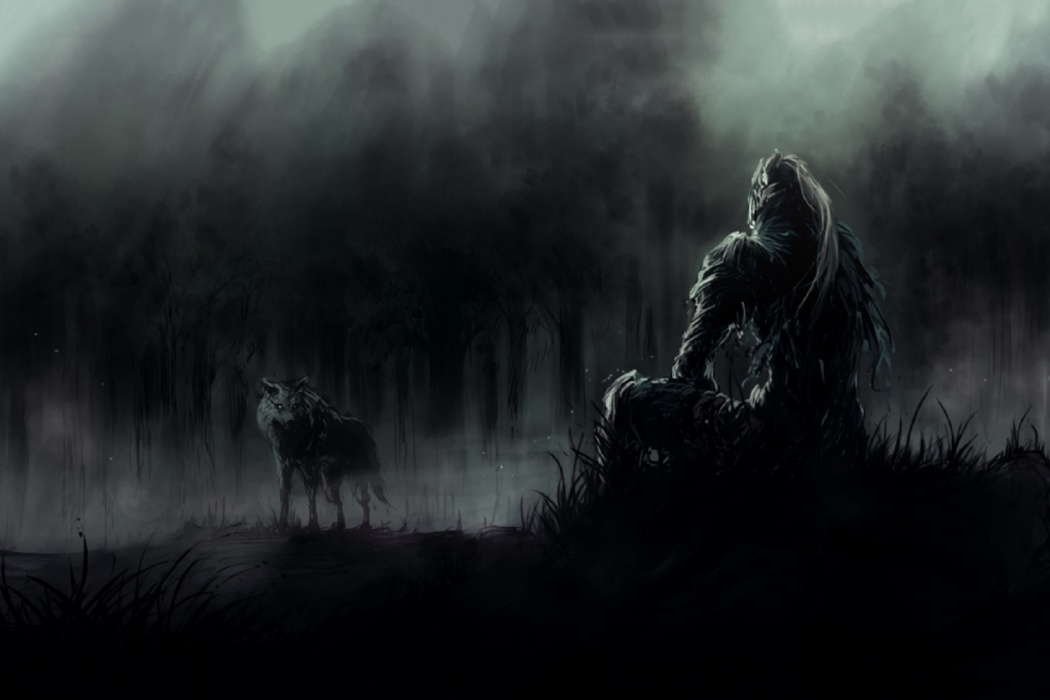 HD Dark Souls Game Soldier Warrior Resting With Wolf Wallpaper HD 1050x700