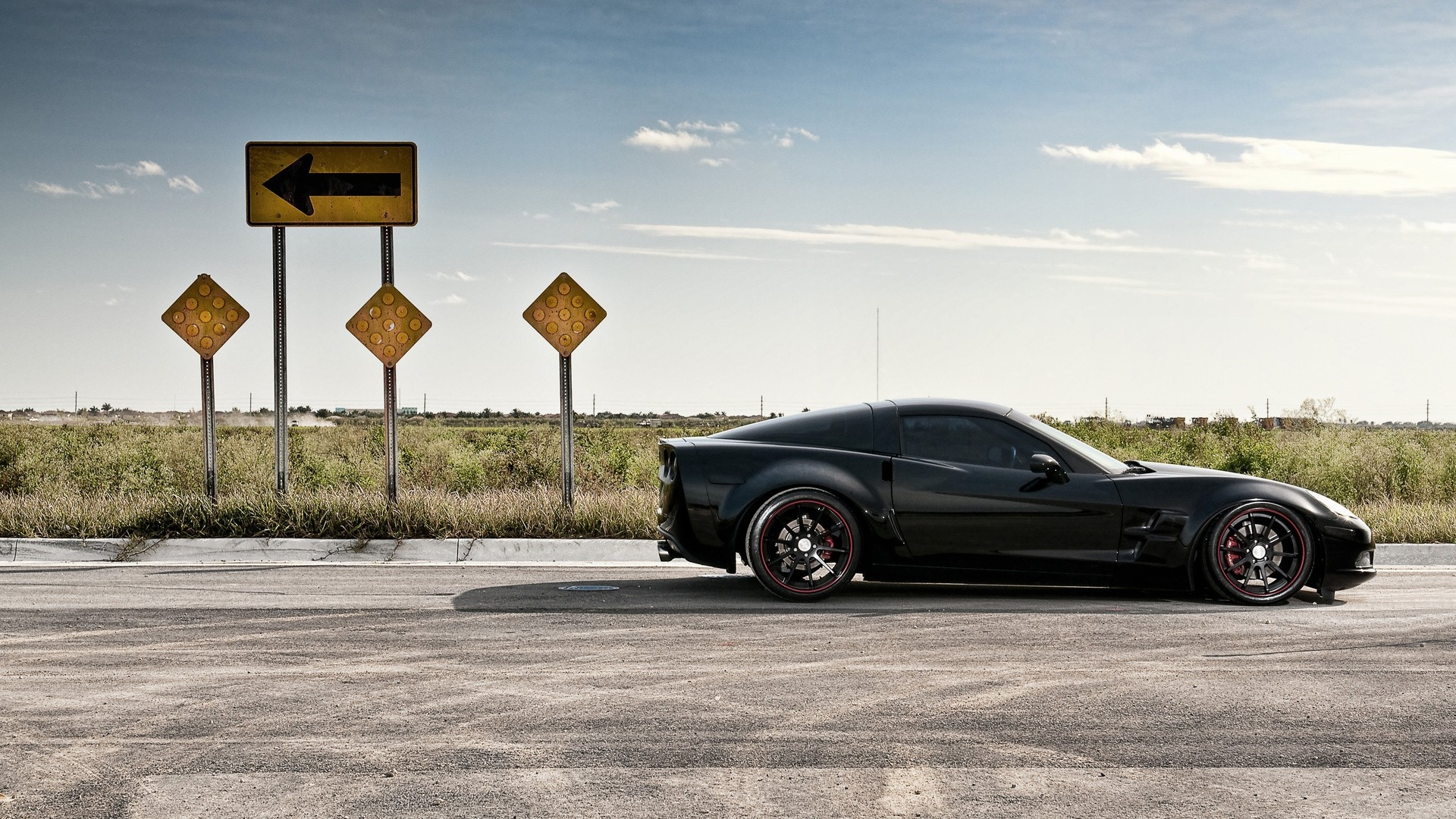 Download Wallpaper 1920x1080 road, traffic, auto, black, corvette Full ...