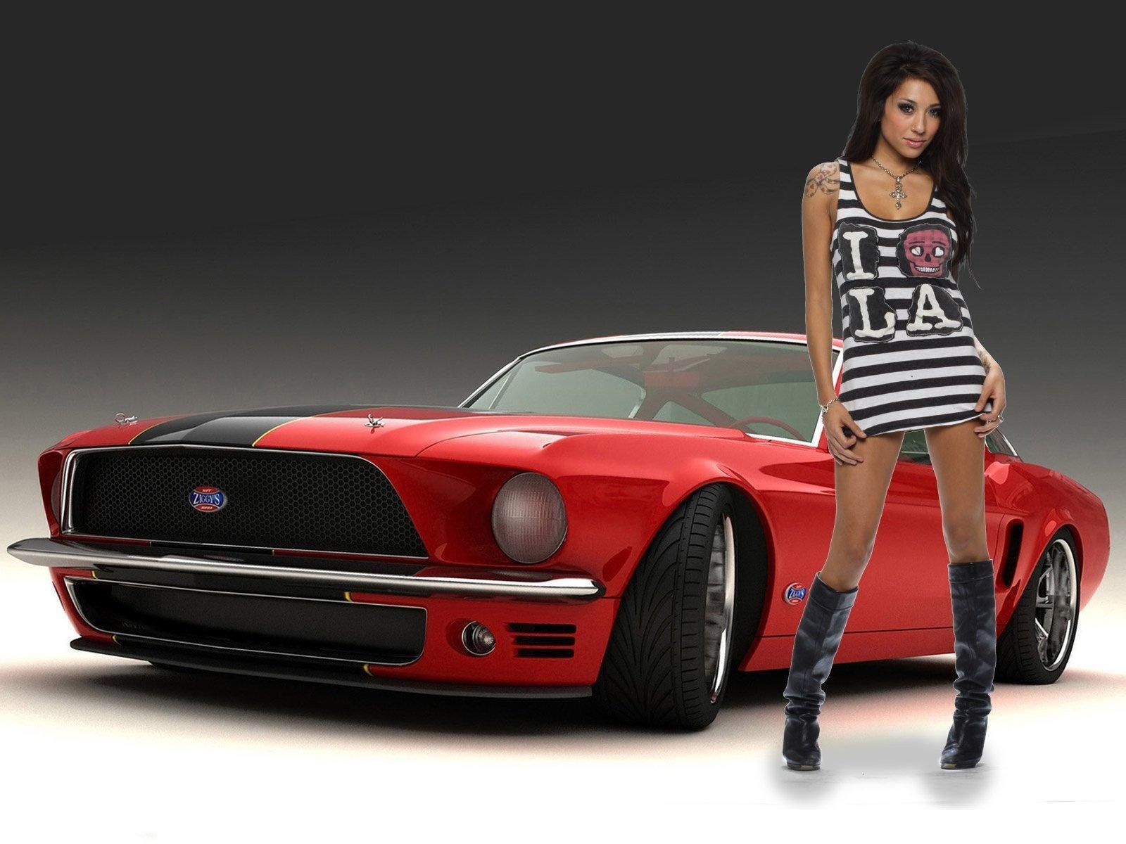 Download Full Size Mustang Girls Cars Wallpaper 1600x1200 1600x1200