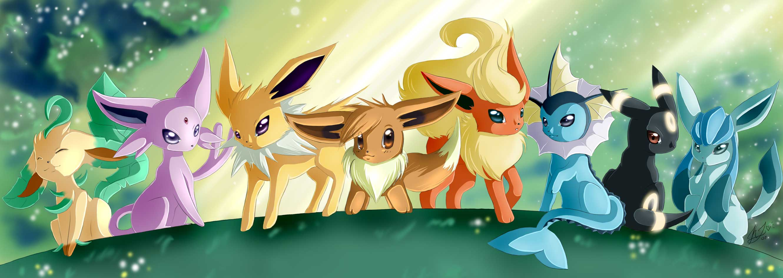 Pokemon Flareon Eevee Espeon Wallpaper 2660x945 Full HD Wallpapers 2660x945