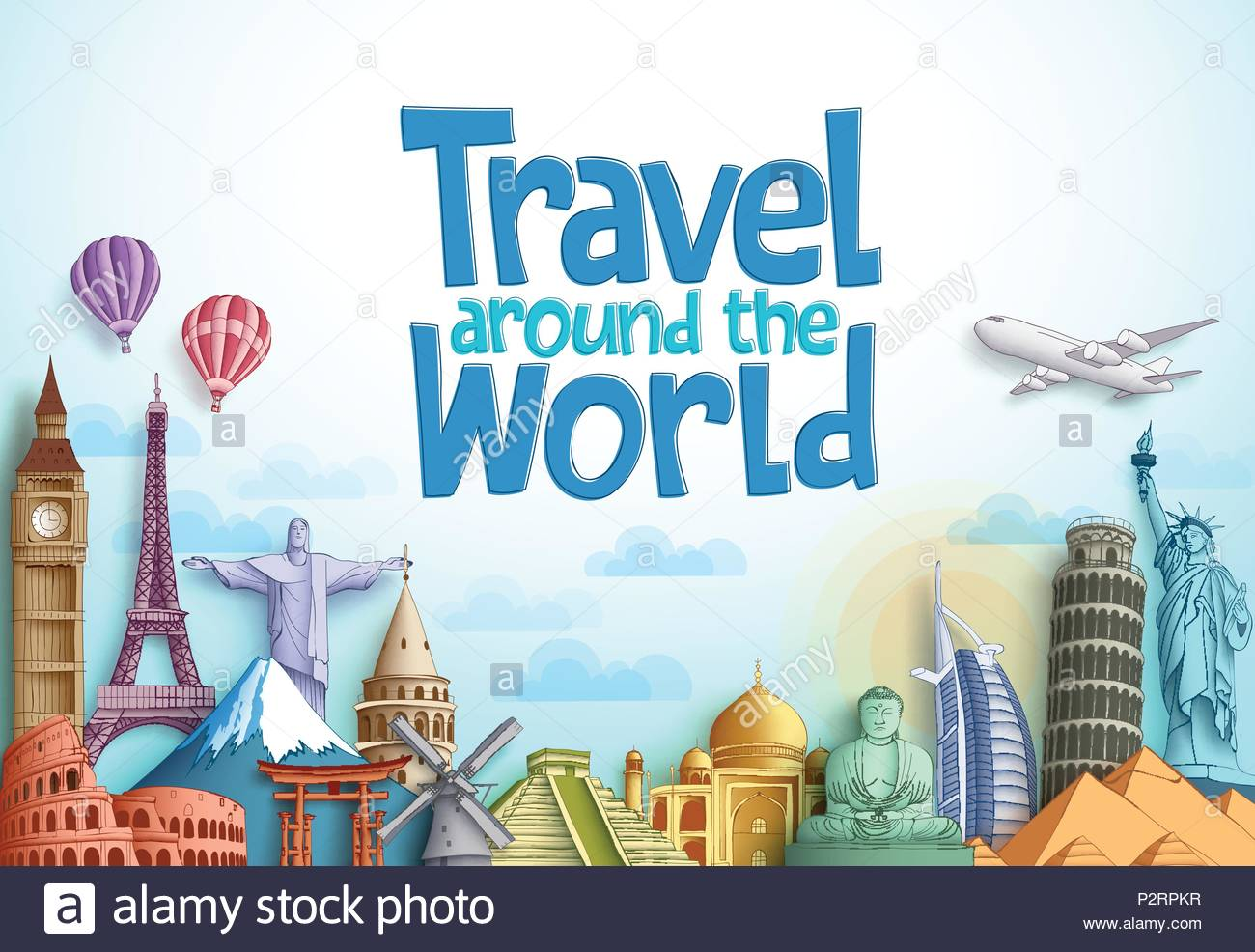 Travel around the world vector background design with famous 1300x986