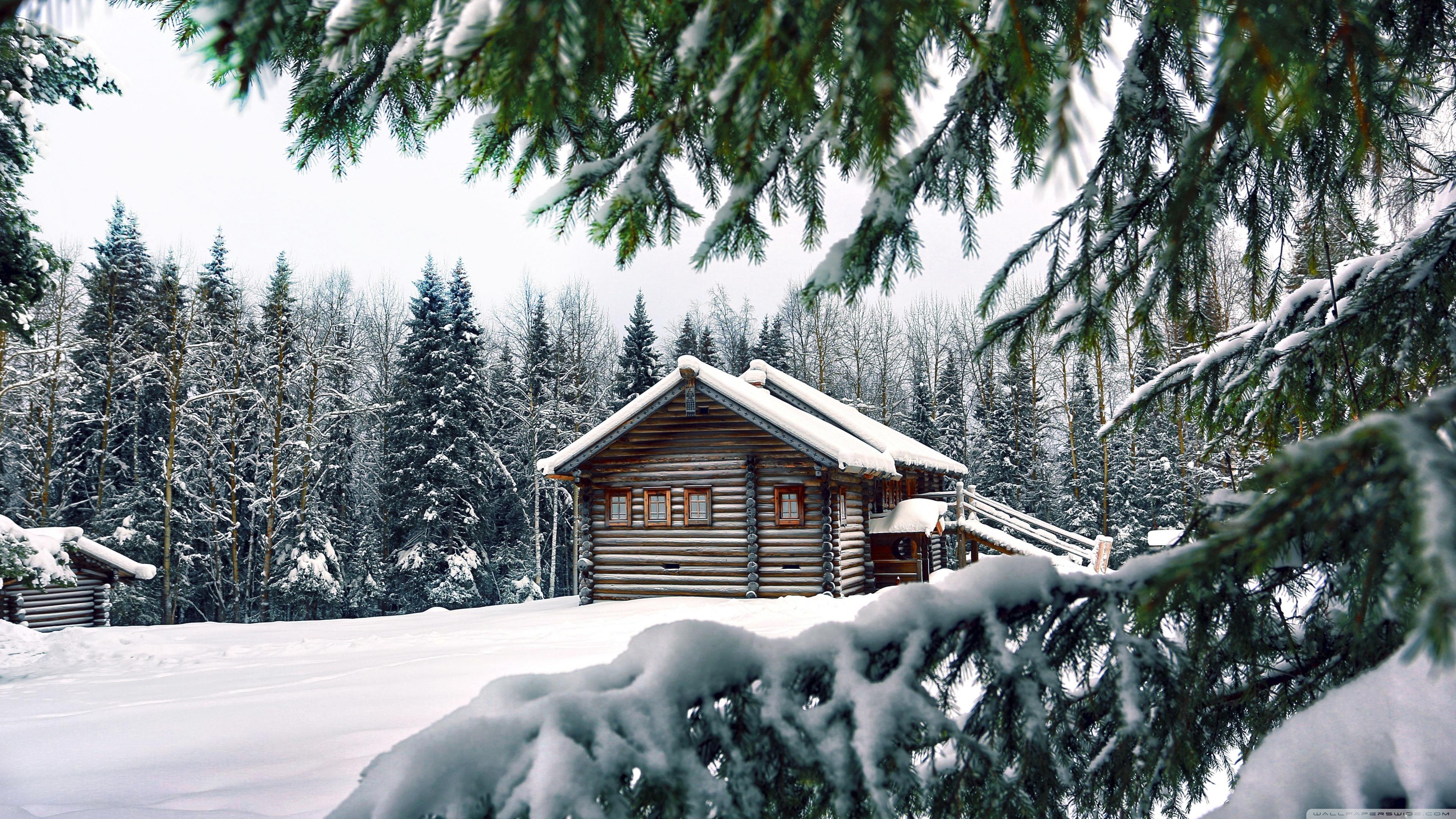 Mountain Retreat Winter Ultra HD Desktop Background Wallpaper for 3840x2160