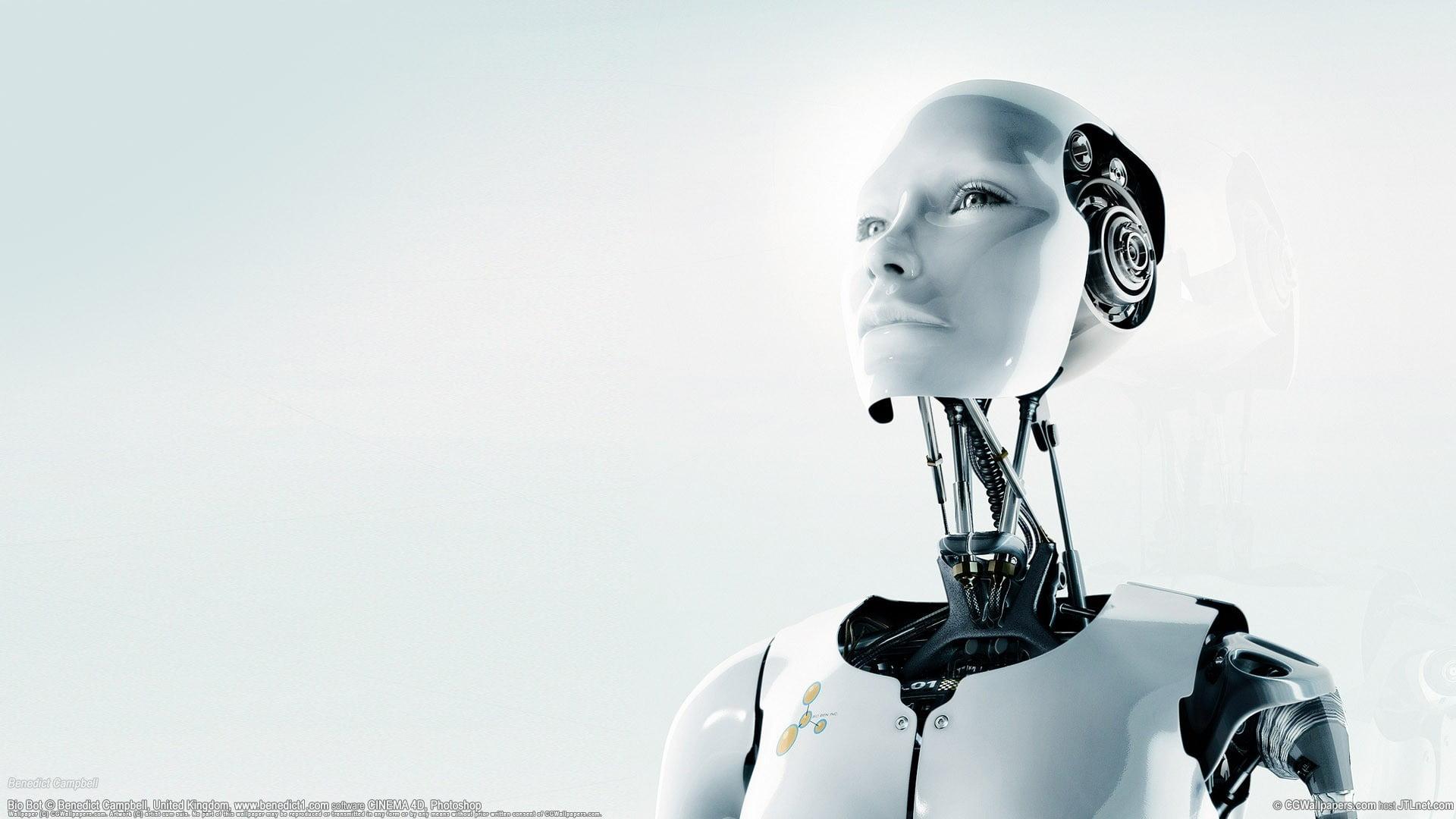 White humanoid robot illustration Bjrk white HD wallpaper 1920x1080