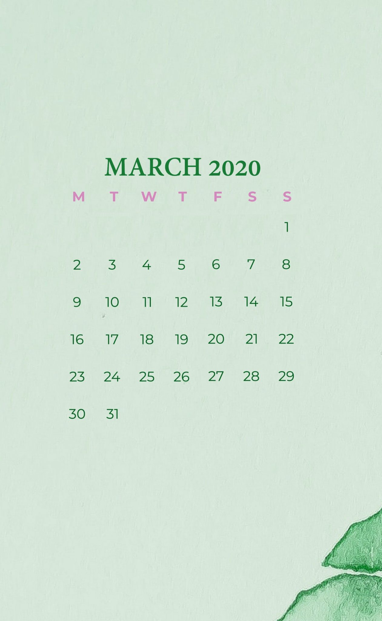 iPhone March 2020 Calendar Wallpaper Calendar 2019 1261x2048