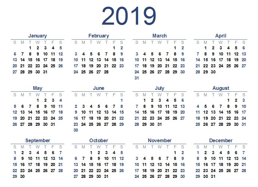 Calendar 2019 Wallpaper 846x614