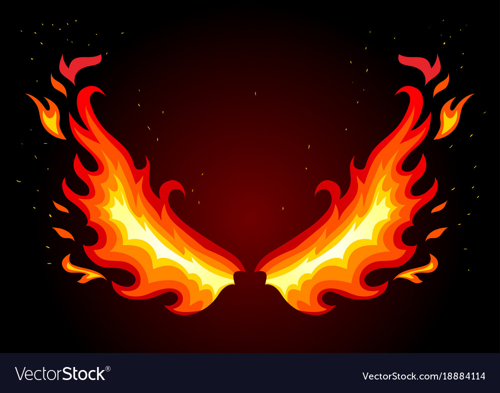 Fire wings on dark background Royalty Vector Image 1000x787