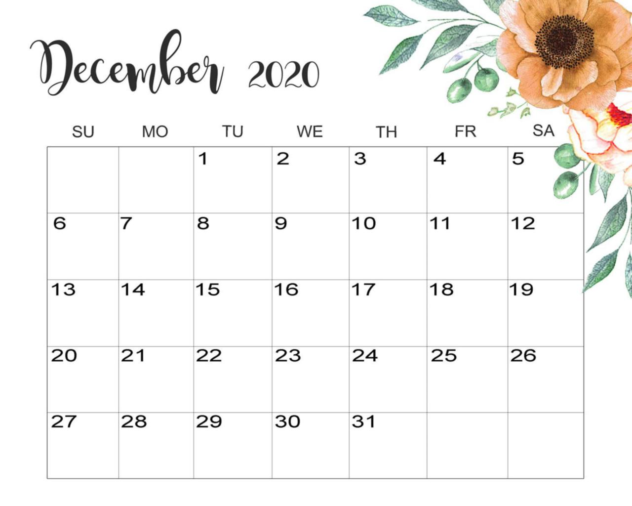 Cute December 2020 Calendar Desktop Wallpaper 1280x1024
