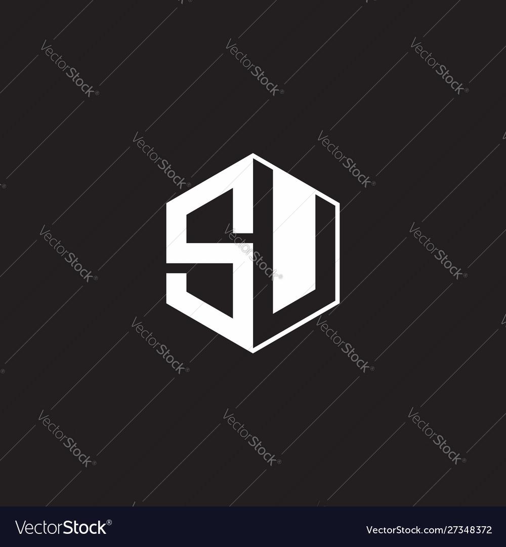 Su logo monogram hexagon with black background Vector Image 1000x1080