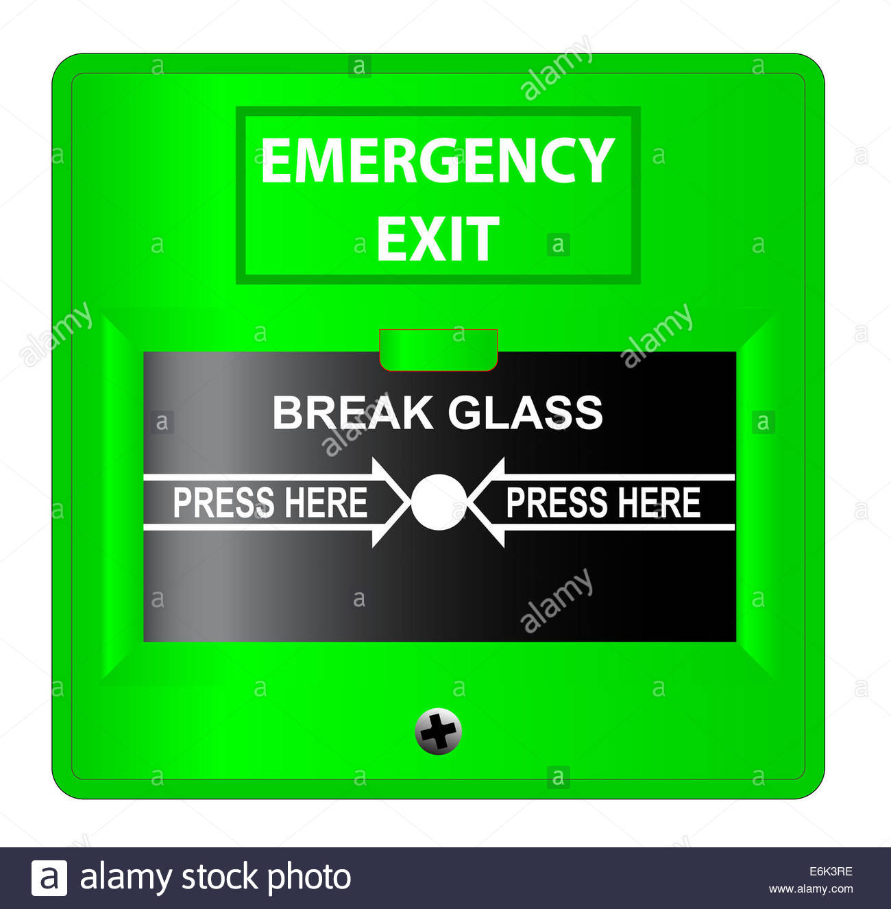A green break glass emergency exit button over a white 1300x1326