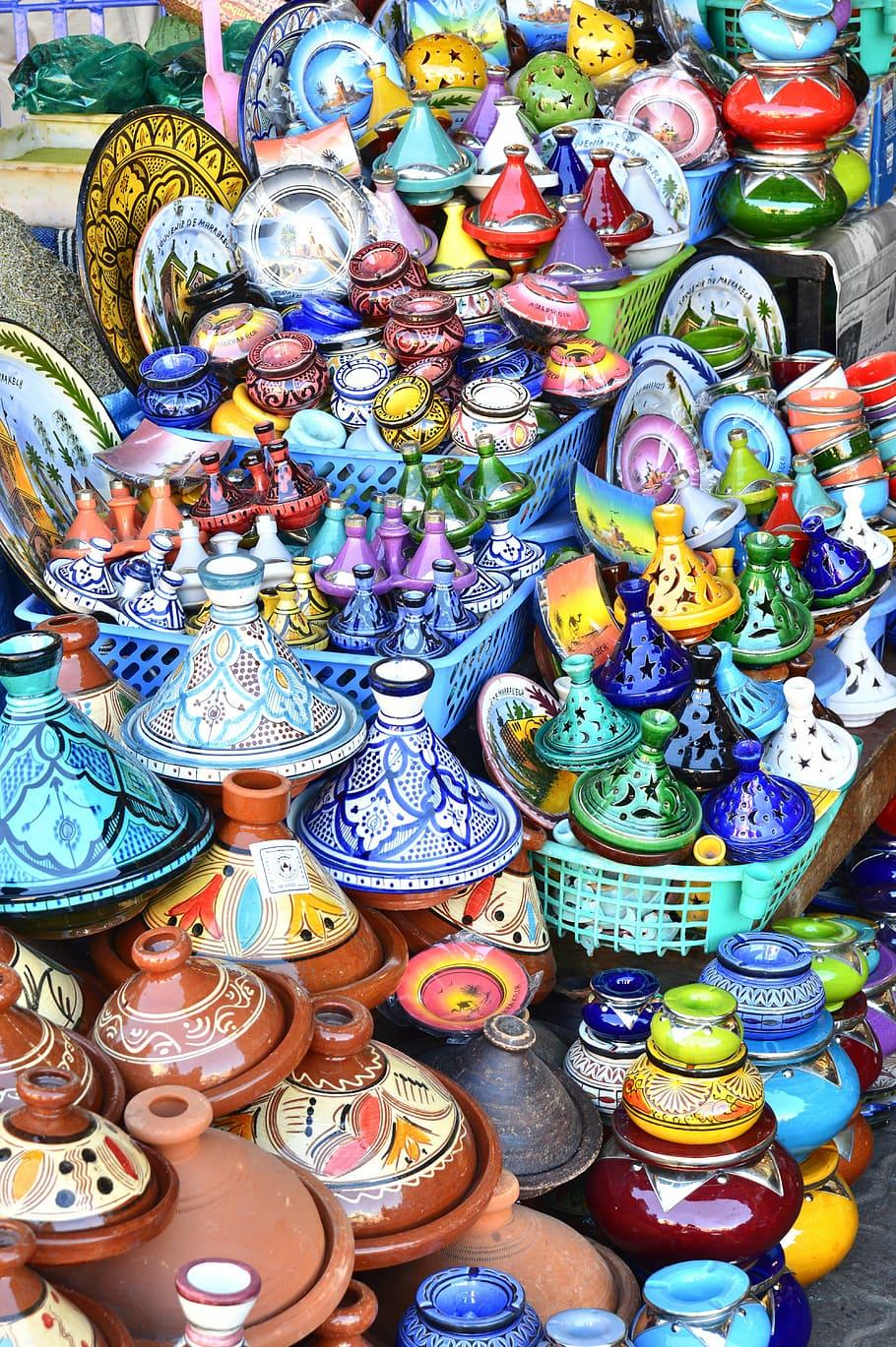 HD wallpaper assorted color ceramic vase lot tagine morocco 910x1369