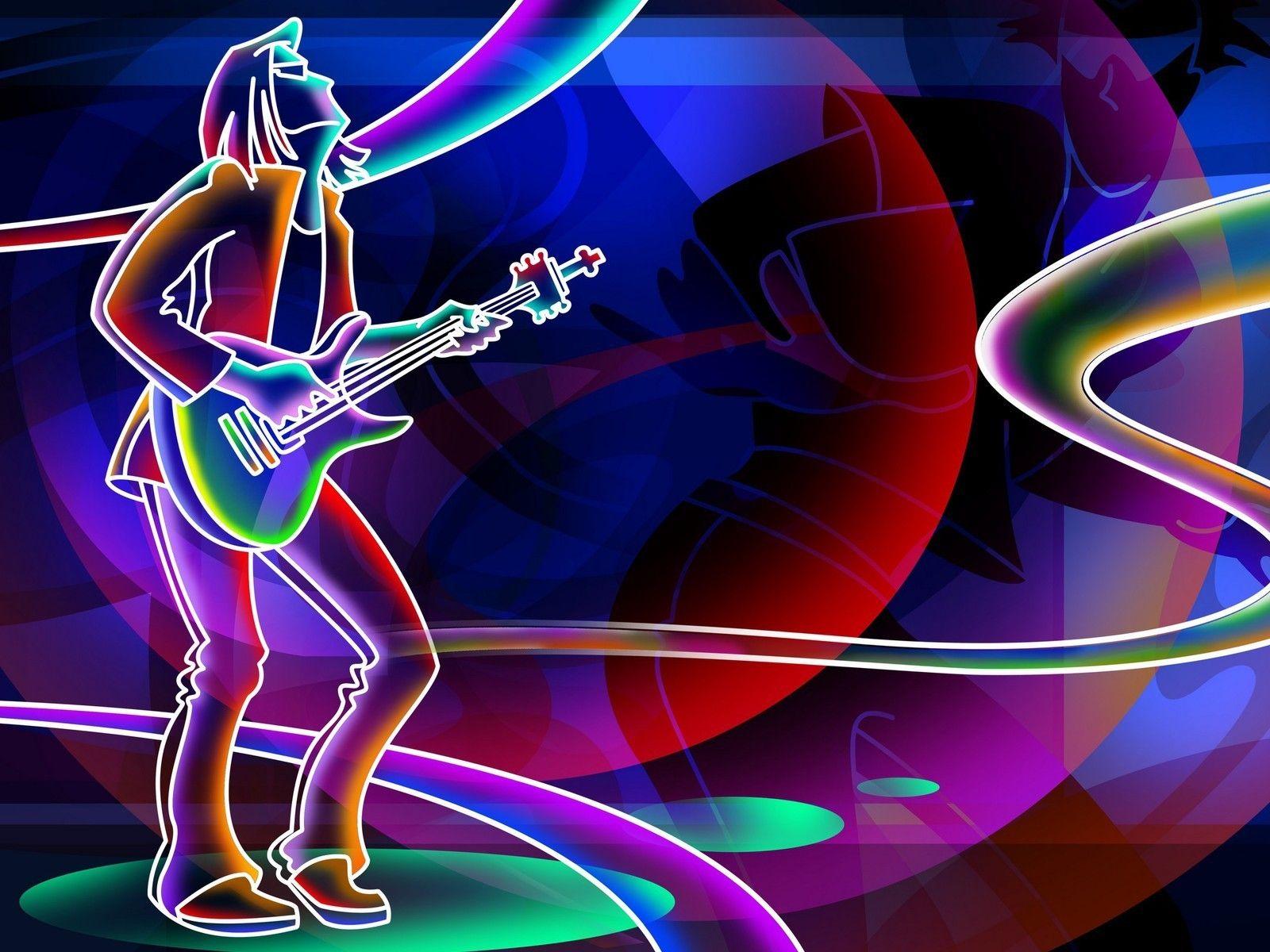 Jazz Abstract Neon Wallpaper drawing art Neon wallpaper Music 1600x1200