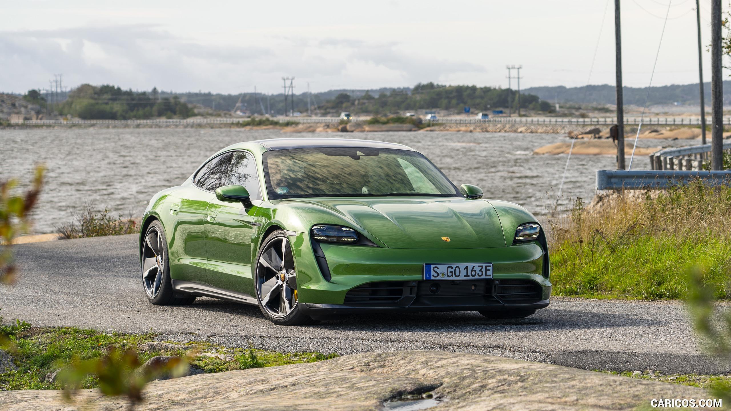 2020 Porsche Taycan Turbo S Color Mamba Green Metallic   Front 2560x1440
