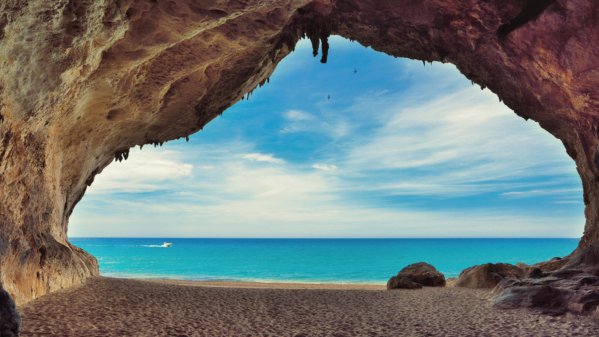 Caves on the beach Cala Luna Sardinia Italy   Beach Wallpapers 1920x1080