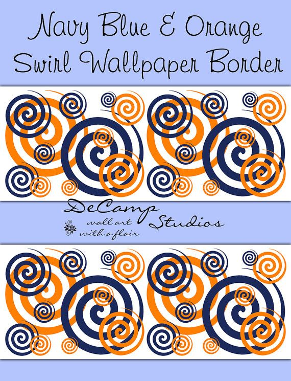 Navy Blue and Coral Orange Swirly Twirly wallpaper border wall decals 570x745