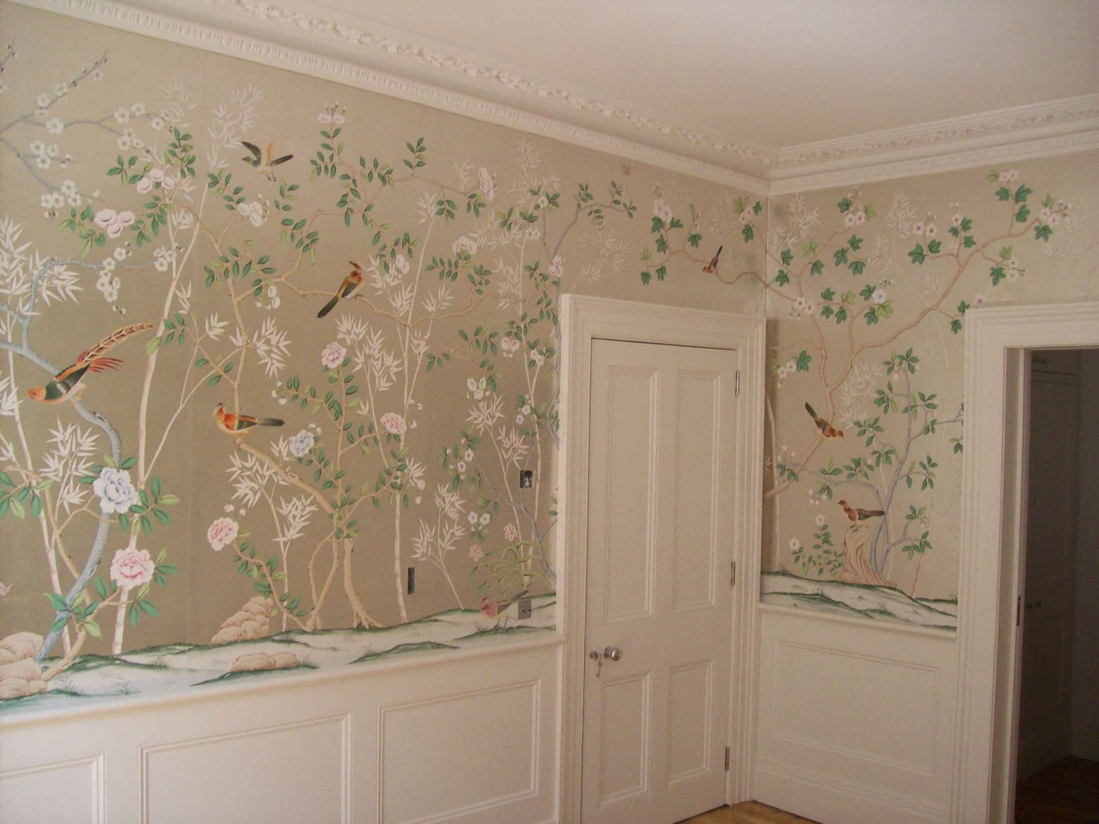 Gorgeous Green Dining Room de Gournay Wallpaper takes center stage 1600x1199