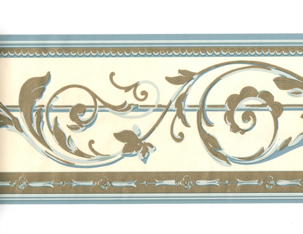 leaf scroll wall paper border blue gold cream leaf scroll wallpaper 1024x791