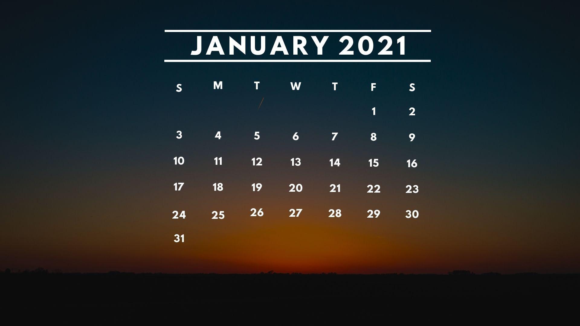 January 2021 Calendar Desktop Background Wallpaper Download 1920x1080