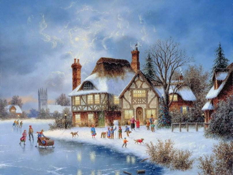 Real Christmas Village Wallpaper Christmas village wallpaper 808x606