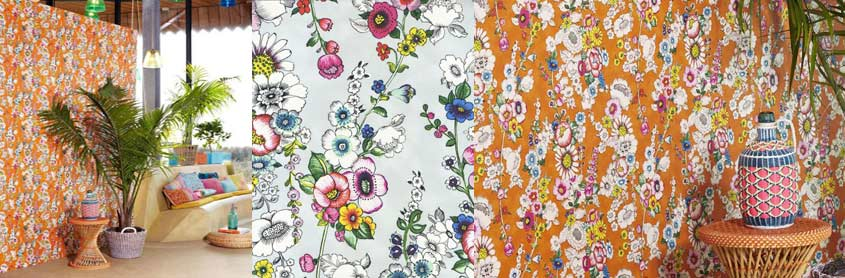 Eijffinger Designer Wallpaper Ibiza Floral Orange Collection London 845x278